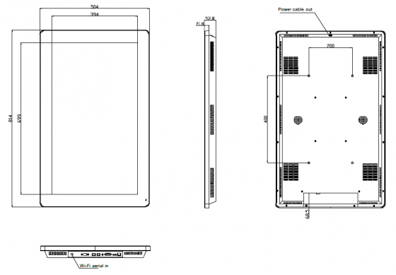 32-inch touchscreen technical drawing